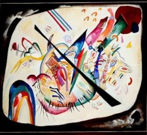 Wassily Kandinsky Ovale bianco, 1919, olio su tela; cm 80 x 93. Mosca, Galleria Statale Tret'jakov, inv. Ž-11924
