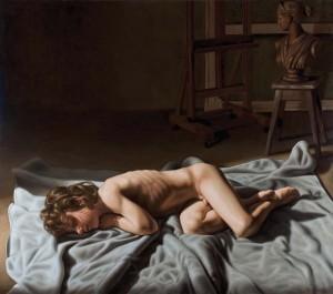 """Rocco Normanno """"Amorino dormiente"""" - 2009, cm.115X130, olio su tela."""