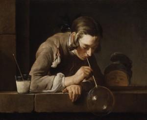 "Jean-Baptiste-Siméon Chardin, XVIII secolo ""Bolle di sapone"""